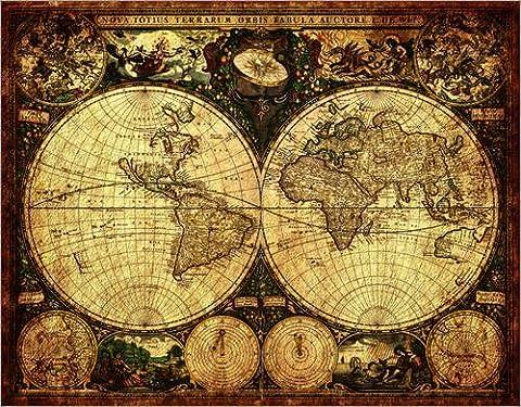 Leinwandbild 120 x 90 cm: Welt 1660 von Michaels Antike Weltkarten - fertiges Wandbild, Bild auf Keilrahmen, Fertigbild auf echter Leinwand,