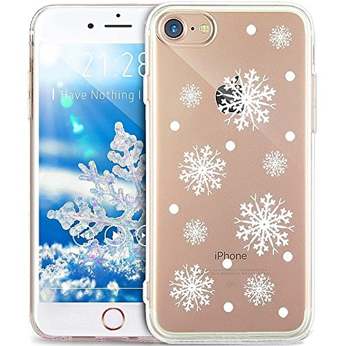 EUWLY Cover per iPhone 7 Plus/iPhone 8 Plus (5.5), EUWLY Custodia per iPhone 7 Plus/iPhone 8 Plus (5.5) Silicone Trasparente TPU Case Christmas Natale Fiocco di Neve Flessibile Morbido Custodia Cove Fiocco di Neve