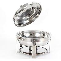 Fetcoi Chauffe-plat - En acier inoxydable - Avec couvercle (rond, 7,5 litres)