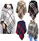 Crazy Girls Womens Check Printed Ladies Stretch Knitted Collared Cape Wrap Shawl Jumper Poncho Top