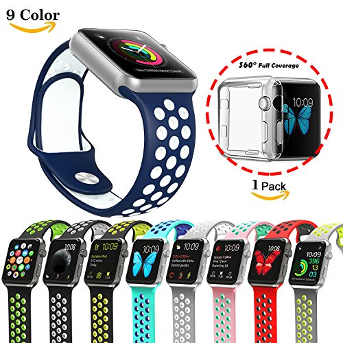 Chok Idea - Correa para Apple Watch (con carcasa transparente de TPU 1/2,38mm/42mm, estilo Nike+), 9 colores, color Blue-White