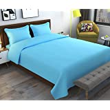 Inaayat Creations Cotton Anti Bacterial Supersoft Bedsheet with 2 Pillow Covers (Queen, Blue)