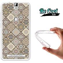 Becool® Fun - Funda Gel Flexible para Elephone P8000, Carcasa TPU fabricada con la mejor Silicona, protege y se adapta a la perfección a tu Smartphone y con nuestro exclusivo diseño. Azulejos ocres y marrones