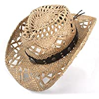 GJIN-Hats, Sun Hat, Mix Cowboy Hat 100% Natural Straw Mujeres Hombres Handwork Weave Cowboy Hats para Lady Dad