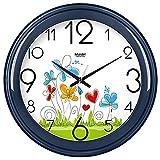 Horloge murale salon créatif autour de l'horloge à quartz réveil en sourdine simple formulaire E738,10 cm, bleu profond -738