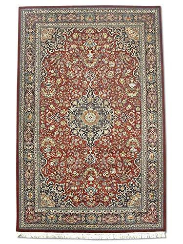 Kashan Roten Teppich (Pak Persian Rugs Handgeknüpfter Kashan Teppich, Burgunderrot/Rot, Wolle/Seide (Höhepunkte), Medium, 140 X 218 cm)