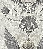 Harald Glööckler Designer Barock Vliestapete 54456 - Adlerschwingen - Weiß / Grau / Silber