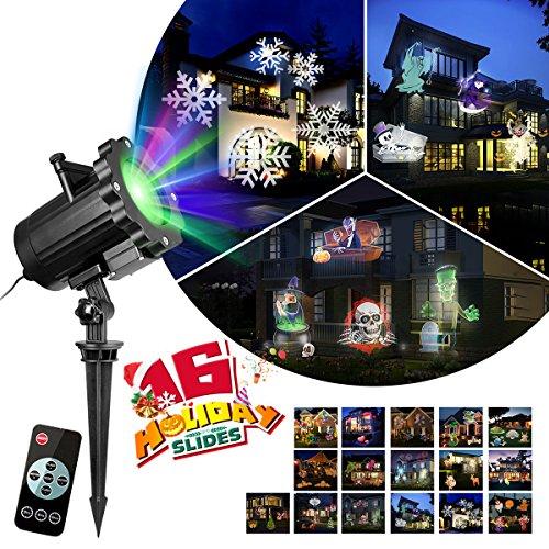 KINGWILL LED Projektionslampe LED Projektor Licht Mit 16 Schaltbaren Mustern Wasserdicht Bewegliche Rotierende Landschafts Scheinwerfer Zeigen F¨¹R Halloween Outdoor Indoor-Haus Garten ()