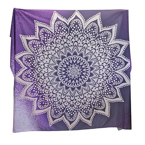 FabricMCC Wandteppich Wandbehang Tapisserie Kunsthandwerk für Picknick Beach Betten Dekorative Tagesdecke Groß Indien Hippie-/ Boho Stil 148* 200cm Violett Blume