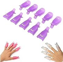 Culater® 10PC Plastique Ongle Art Tremper le Capuchon Pince à Ongles Gel UV Pellicule Outil Rose Vif