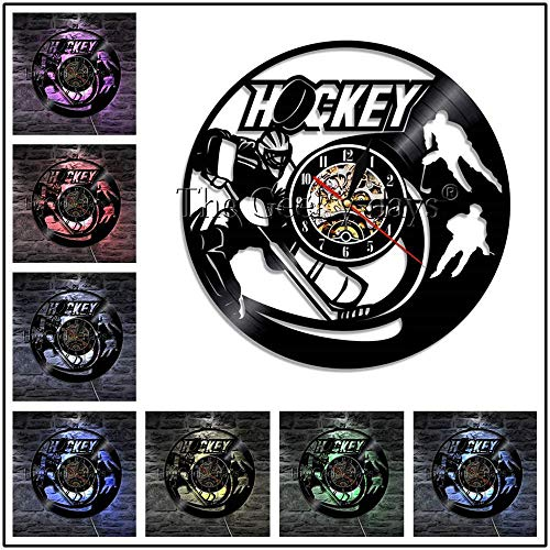 TPYFEI Hockey Player Logo Hockeyschläger und Eishockey Schallplatte Wanduhr Hockey Club Team Logo Wandkunst Wanduhr Hockey Fan Gift-White_No LED