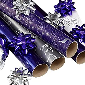 Debenhams Purple And Silver Gift Wrap Multipack Debenhams Amazoncouk Kitchen Amp Home