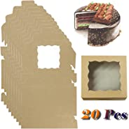Fyess 20Pack Kraft Paper Bakery Boxes with pvc Window,Clear Display Window, Donut, Mini Cake, Pie Slice, Dessert Disposable
