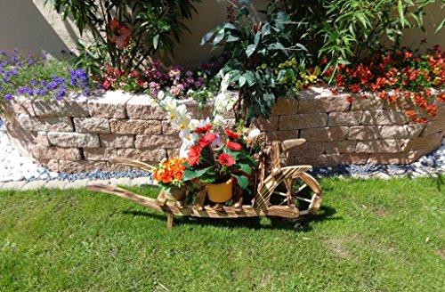Große Offene Holz-Schubkarre, Gartendeko Karre zum Bepflanzen, Blumentöpfe, Pflanzkübel, Pflanzkasten, Blumenkasten, Pflanzhilfe, Pflanzcontainer, Pflanztröge, Pflanzschale, Schubkarren 80 cm mit Holz - Deko HSOF-80-GEFLAMMT Blumentopf, Holz, gebrannt geflammt schwarz-natur Deko für aus - Pflanzgefäß, Pflanztöpfe