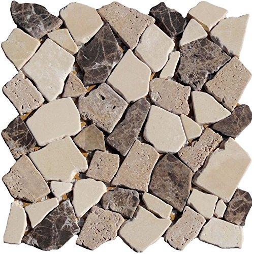 1 Netz Bruchmosaik Brown Beige Mix Marmor Kalkstein Braun Beige (Marmor Brown Fliesen)
