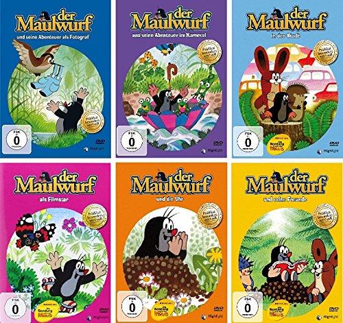 Der kleine Maulwurf - 6 DVDs (einzeln: Fotograf/Karneval/Stadt/Filmstar/Uhr/Freunde) im Set - Deutsche Originalware [6 DVDs]