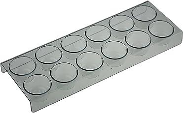 Eierhalter 12er passend für AEG Kühlschrank, Länge: 28cm, Breite: 10cm, Höhe: 2,5cm; Durchmesser Eierfach: 4cm.