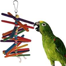 NKYSM Papagei Spielzeug Bunte Holz Popsicle Perlen Vogel Schaukel Regenbogen Hängende Käfig Lustig für Papagei Budgie Lovebird Cockatiels