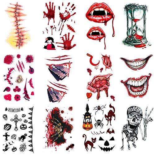 12 Pcs Halloween Zombie Narben Vampir Tattoo/Tätowierung temporäre Tattoos/Halloween Party Requisit und Cosplay (Zombie Requisiten Halloween)
