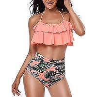 heekpek Costume da Bagno Donna Vita Alta Bikini Imbottito Swimsuit Capestro Brasiliano Balze da Beachwear Svasate…