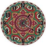 Monsety Wanduhr aus Holz, antik, rund, für Schlafzimmer, rote Mandala-Uhr, spirituelle Wanduhr, dekorativ für Kinderzimmer, groß, 38 cm, Wohnzimmer-Uhr Geschenk