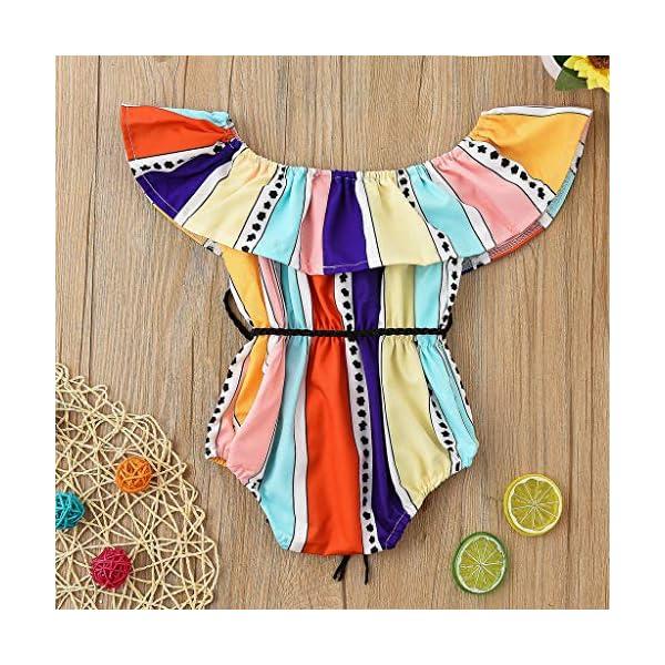 HEETEY Pijama para niña, recién Nacido, niño, niña, Volantes, Mangas, Estampado, Conjunto de Ropa de Verano, Mono 3