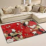 Use7 Japanischer Schmetterlings-Blumen-Teppich Anti-Rutsch-Fußmatte Fußmatte für Kinder Wohnzimmer Schlafzimmer, Textil, Mehrfarbig, 100 x 150 cm(3' x 5' ft)