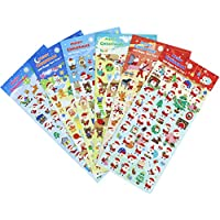 Christmas Stickers 6 Sheets with Snowman and Reindeer Happy Faces Kids Santa Claus Stickers for Scarpbooking Toys Gifts Present - 300 Stickers