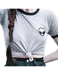 Susenstone Mujer señora 3d Tee de manga corta blusa camiseta impresión Alien superior cultivo ocasional (