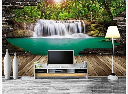 Lqwx Maßgeschneiderte 3D Wallpaper 3D Wandbilder Tapeten Wasserfall Landschaft Wasser Vorstand Hintergrund 3D-Wand Wohnzimmer Fototapete 200 Cmx 140 Cm Vorstand Wasser