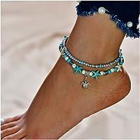 Simsly JL-088 - Cavigliera Boho a forma di tartaruga con stelle marine, accessorio per piede a doppio strato, per donne…