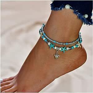 Simsly JL-088 - Cavigliera Boho a forma di tartaruga con stelle marine, accessorio per piede a doppio strato, per donne e ragazze (argento/1 pezzo)