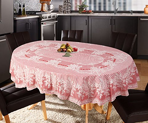 Katwa Clasic - 54 x 78 (Oval) Rose Lace Vinyl Tablecloth (Red)