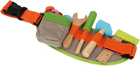 Verstellbarer Werkzeug-Gürtel inkl. buntem Spielwerkzeug / Zubehör aus Holz (Lineal, Schraubendreher, Hammer, Gabelschlüssel, Schrauben und Muttern), Holzspielzeug ab 3 Jahren