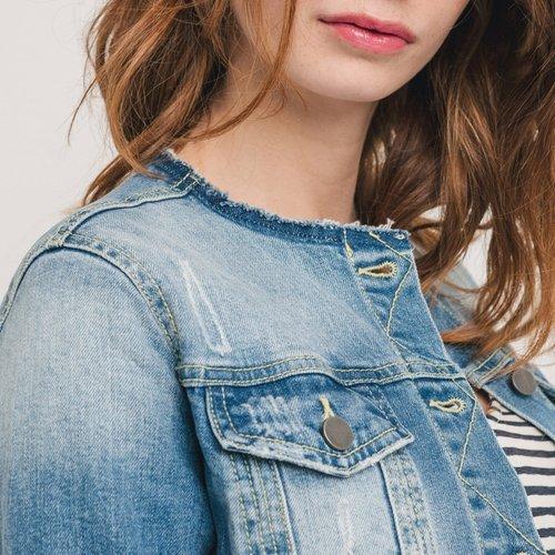 Promod Veste en jean brodé Jean clair