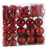 BAKAJI Addobbi per Albero di Natale 103 Pezzi Confezione Palline Cuori Stelle Coni Decorazioni Natalizie (Rosso)