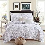 Beddingleer Tagesdecke Patchwork 230x270 cm Bettueberwurf Weiss Gesteppt Baumwolle Kissenbezug Einfacher Nordischer Stil Shylock für Doppelbett