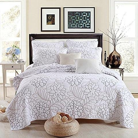 Beddingleer King Size 100% Cotton Shylock Embroidered Quilt Set 3 Piece Bedding Comforter Set (Pure