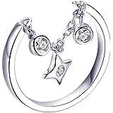 Anello regolabile da donna in argento Sterling con stella e zirconia cubica
