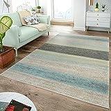 Moderner Teppich Wohnzimmer Teppiche Breite Streifen Pastell Türkis Grün Creme, Größe:70x250 cm