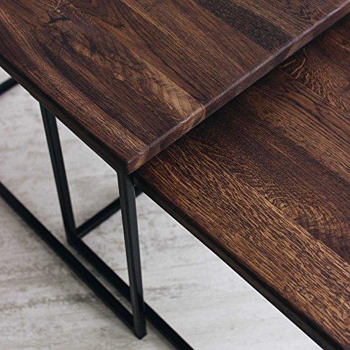 Original BestLoft®2er-Set Couchtisch (MSD) Eiche Metall Beistelltisch Industiedesign loft vintage Sofatisch massiv Holz (Eiche geräuchert) - 3