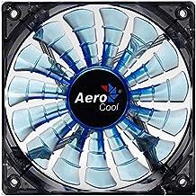 Aerocool SHARKBLUE - Ventilador gaming para PC (12 cm, 15 aspas, LED, ultrasilencioso, antivibración, 12 V / 7 V), azul