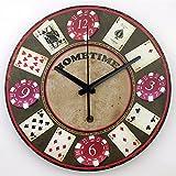 sunqian-bedroom salón oficina reloj de pared silencioso gráficos, Simple creativa Poker Chips relojes