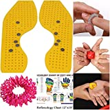 #2: Super India Store Magnetic & Acupressure Shoe Sole With Power Ball, Power Thumb, Su-Jok Ring & Reflexology Chart For Hand & Feet - Yellow