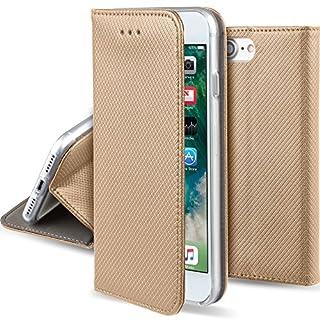 Moozy Hülle Flip Case für iPhone 7 / iPhone 8, Gold - Dünne magnetische Klapphülle Handyhülle mit Standfunktion