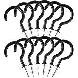 DELSEN Gecoate Cup Haak Heavy Duty Schroef-in Plafondhaken 12 Stks Zwarte Schroef in Ooghaken voor Badkamer Keuken Tuin (2 In
