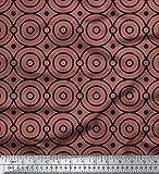 Soimoi Braun japanischer Kreppsatin Stoff Dots & Kreis