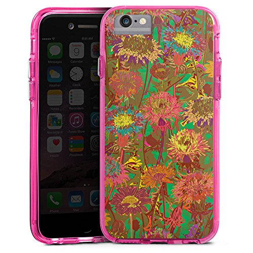 Apple iPhone 8 Bumper Hülle Bumper Case Glitzer Hülle Blumenwiese Blumen Flowers Bumper Case transparent pink