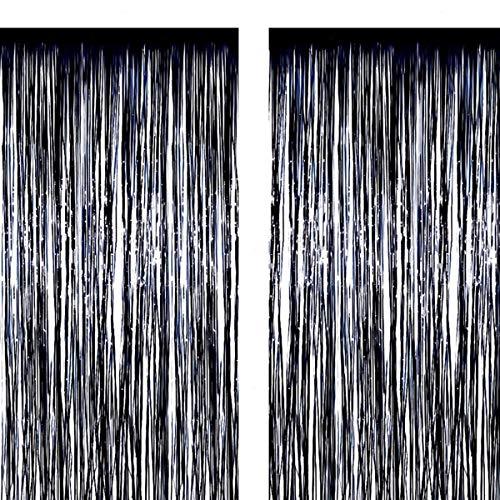 2 Stück Folie Vorhang Metallic Folie Fransen Vorhänge 1M*3M Photo Booth Requisiten für Geburtstag Hochzeit Braut Dusche Baby Shower Bachelorette Weihnachten Party Dekorationen (Schwarz) (Metallic Vorhang Dusche)
