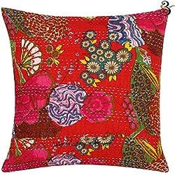 Indian Kantha algodón sofá cojín Set, hecho a mano Impresión de frutas parche decoración para el hogar sofá funda de almohada de Vintage estilo Aakriti galería, Rojo, 41x41 cm